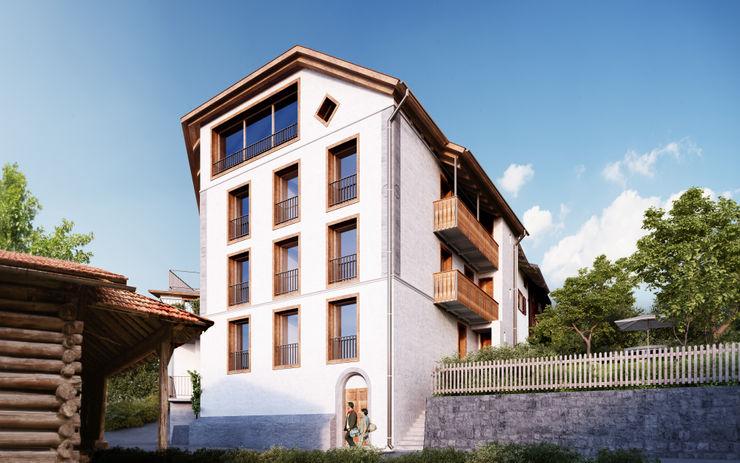 Süd-Ost Fassade von Mann Architektur GmbH Rustikale Häuser