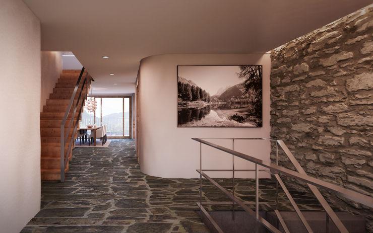 Entré / Flur im 2. Obergeschoss von Mann Architektur GmbH Rustikaler Flur, Diele & Treppenhaus
