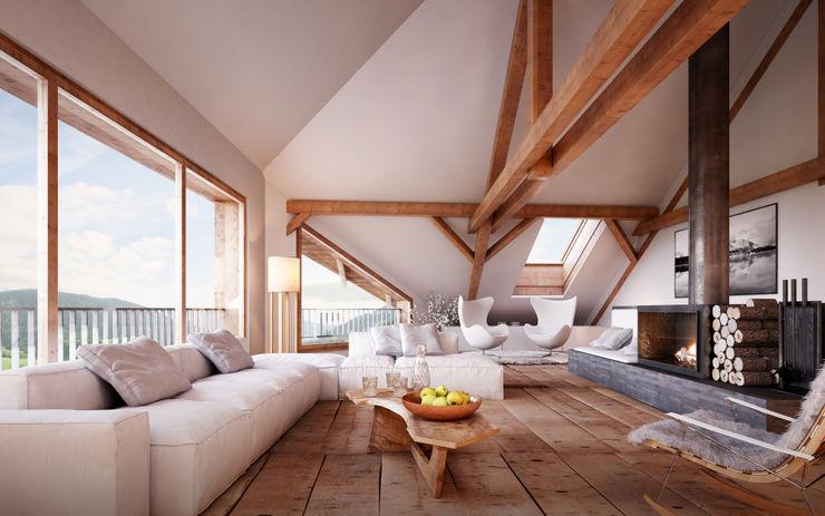 von Mann Architektur GmbH Salas de estilo rústico