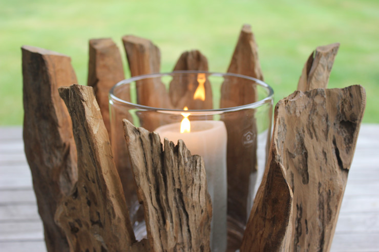 Driftwood Hurricane Vase Greige Balconies, verandas & terraces Accessories & decoration
