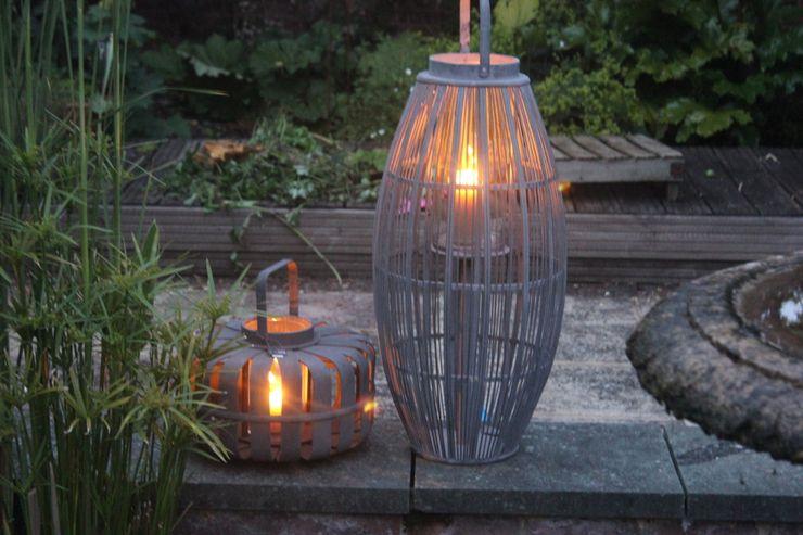 "Grey Broste Bamboo Wooden Lantern ""Aleta"" Greige Balconies, verandas & terraces Accessories & decoration"