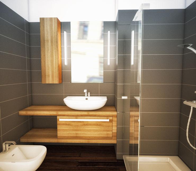 Rendering di progetto di un bagno Fluido Design Studio