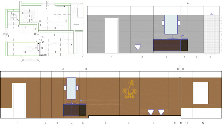 Disegni esecutivi per i bagni Fluido Design Studio