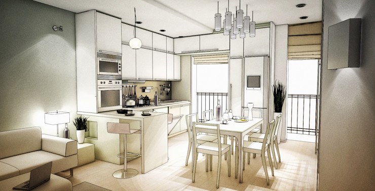 rendering di progetto della zona pranzo e cucina Fluido Design Studio