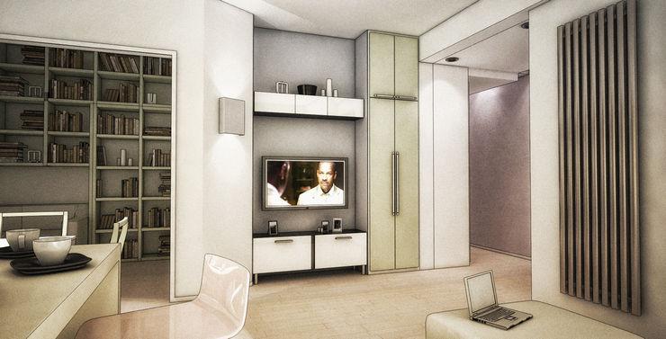 Rendering di progetto della zona living Fluido Design Studio