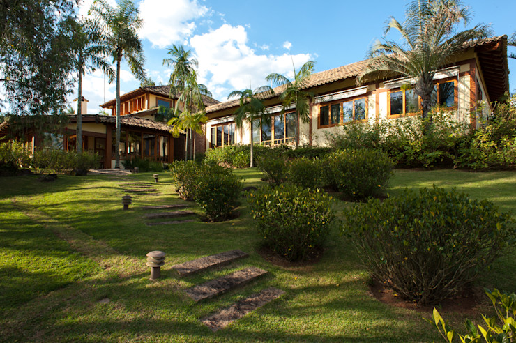 PM Arquitetura Casas de estilo rústico