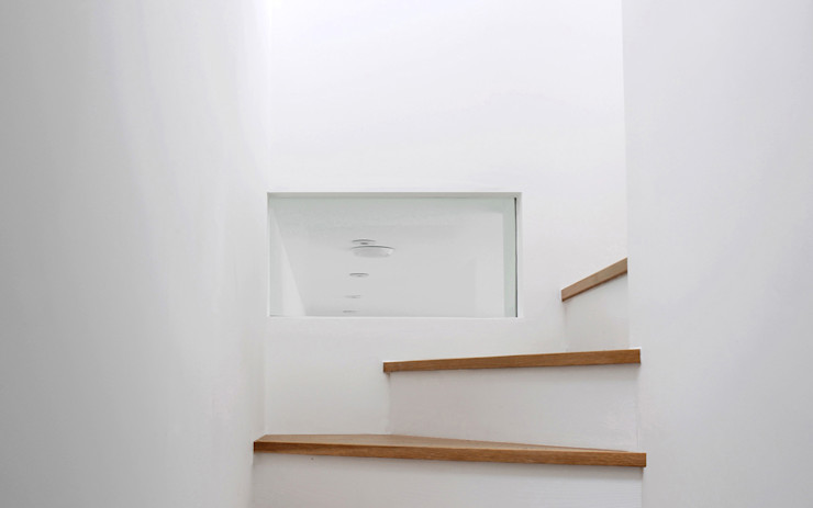 Old Workshop - stair Jack Woolley Modern corridor, hallway & stairs