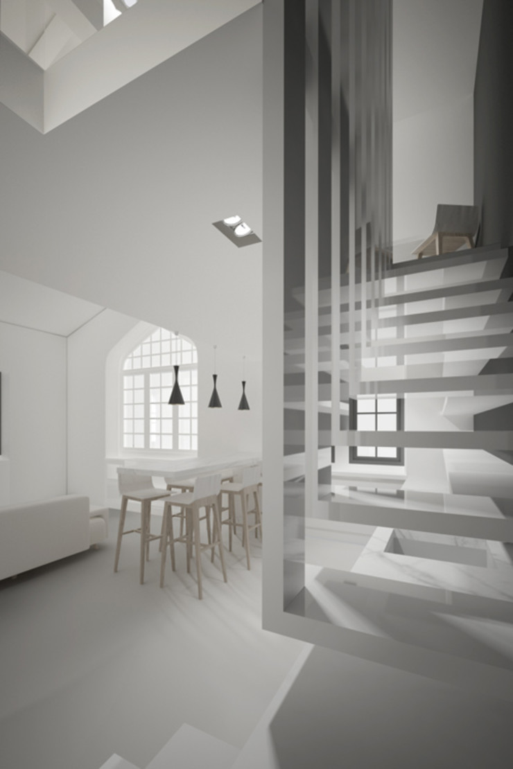 Yeme + Saunier Minimalist corridor, hallway & stairs