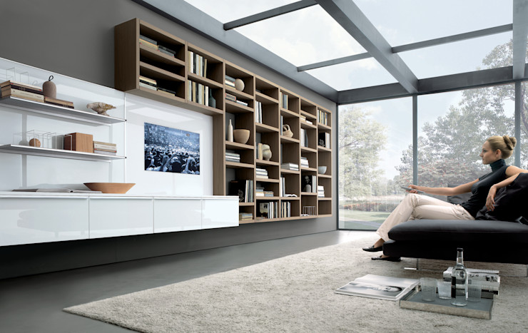 Wall hung TV unit and bookcase. Also with hidden storage for AV equipment. Lamco Design LTD Living roomTV stands & cabinets