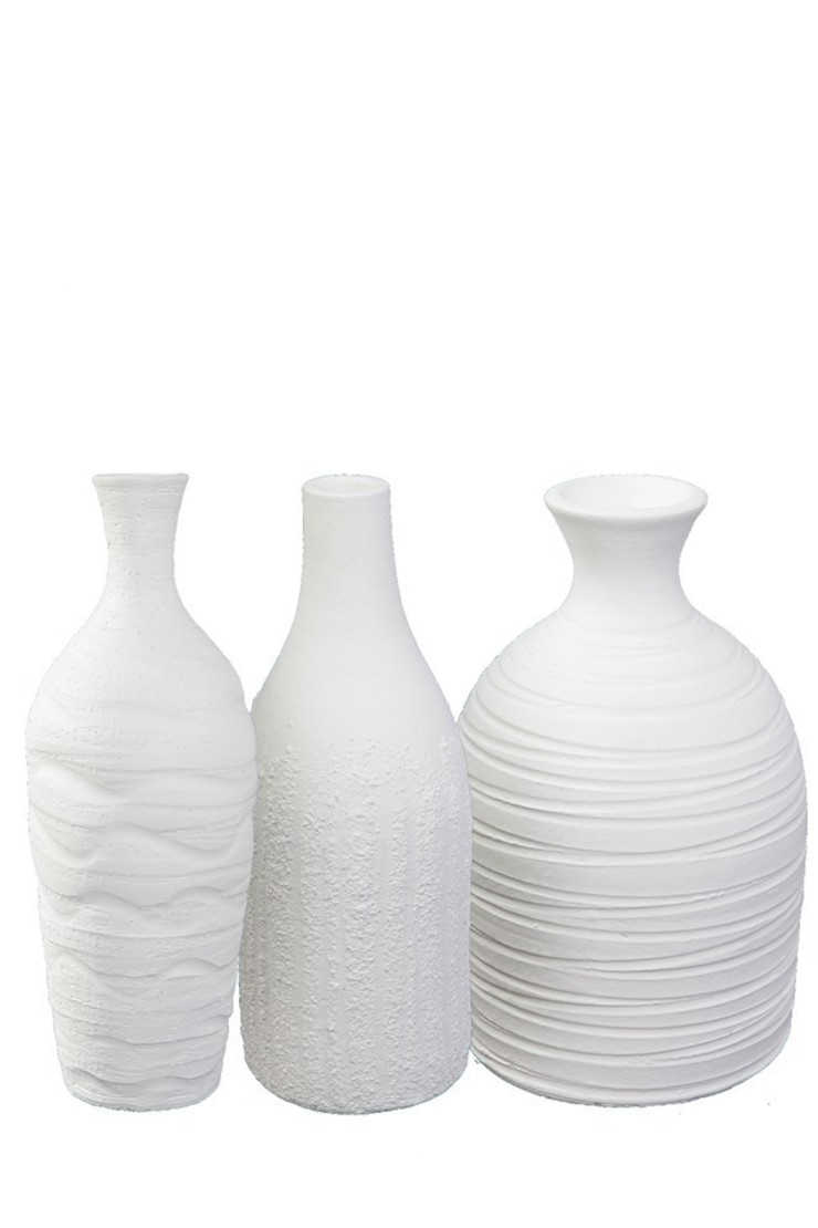 Set of three white vases , Handmade Earth and Fire Lab Dining roomAccessories & decoration