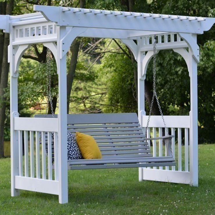 CASA BRUNO Savannah columpio 160 cms, HDPE poly-madera, blanco, con cadena de montaje Casa Bruno American Home Decor JardínColumpios y zonas de juego
