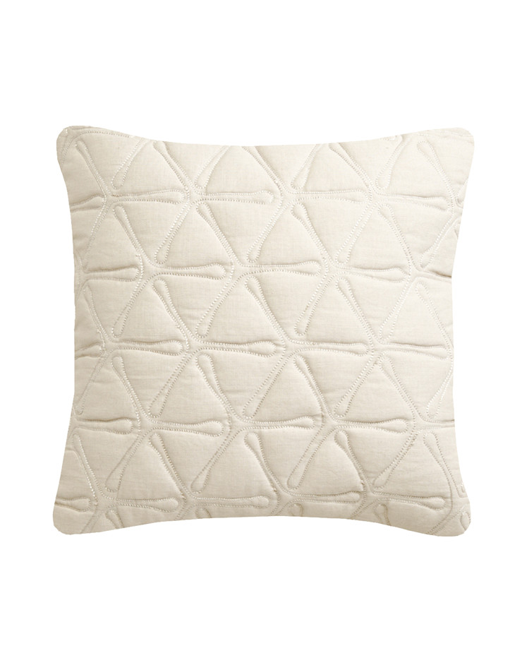Quilted Geo Cotton Cushion in Ivory, 40x40cm Nitin Goyal London BedroomTextiles