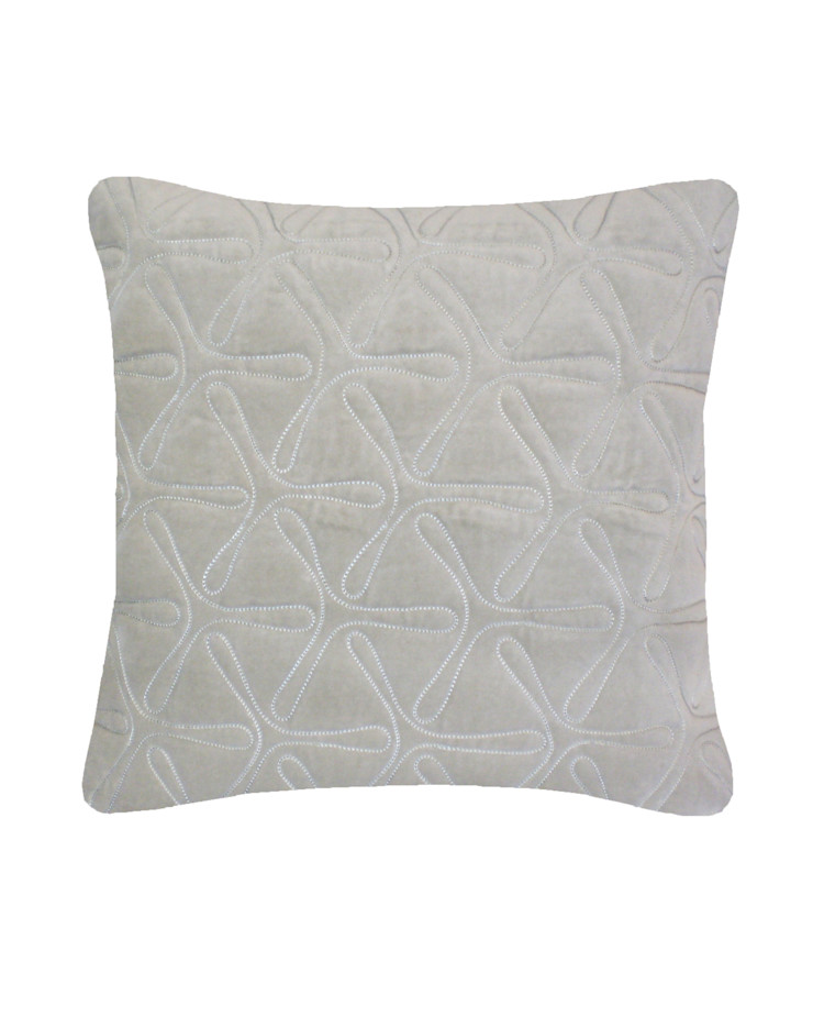 Quilted Geo Cotton Velvet Cushion in Dove Grey, 40x40cm Nitin Goyal London BedroomTextiles