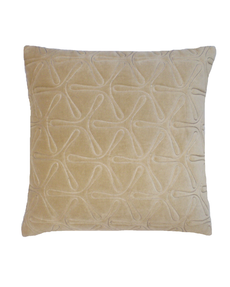 Quilted Geo Cotton Velvet Cushion in Natural, 40x40cm Nitin Goyal London BedroomTextiles