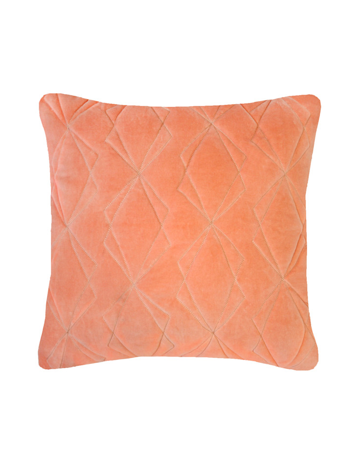 Quilted Duo Cotton Velvet Cushion in Persimmon, 40x40cm Nitin Goyal London BedroomTextiles