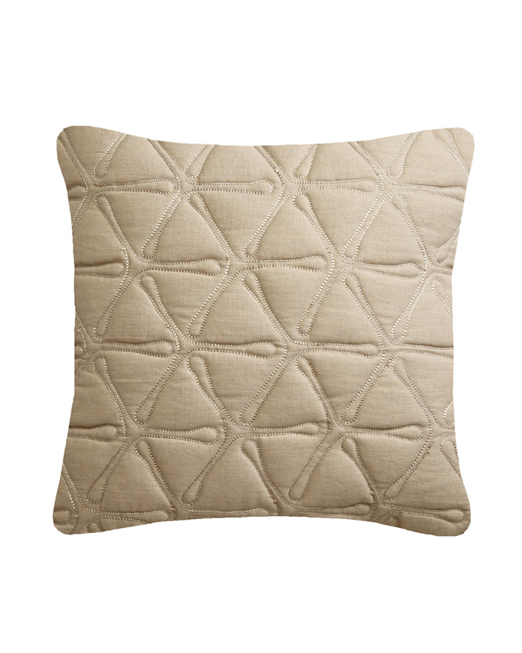 Quilted Geo Cotton Cushion in Natural, 40x40cm Nitin Goyal London BedroomTextiles