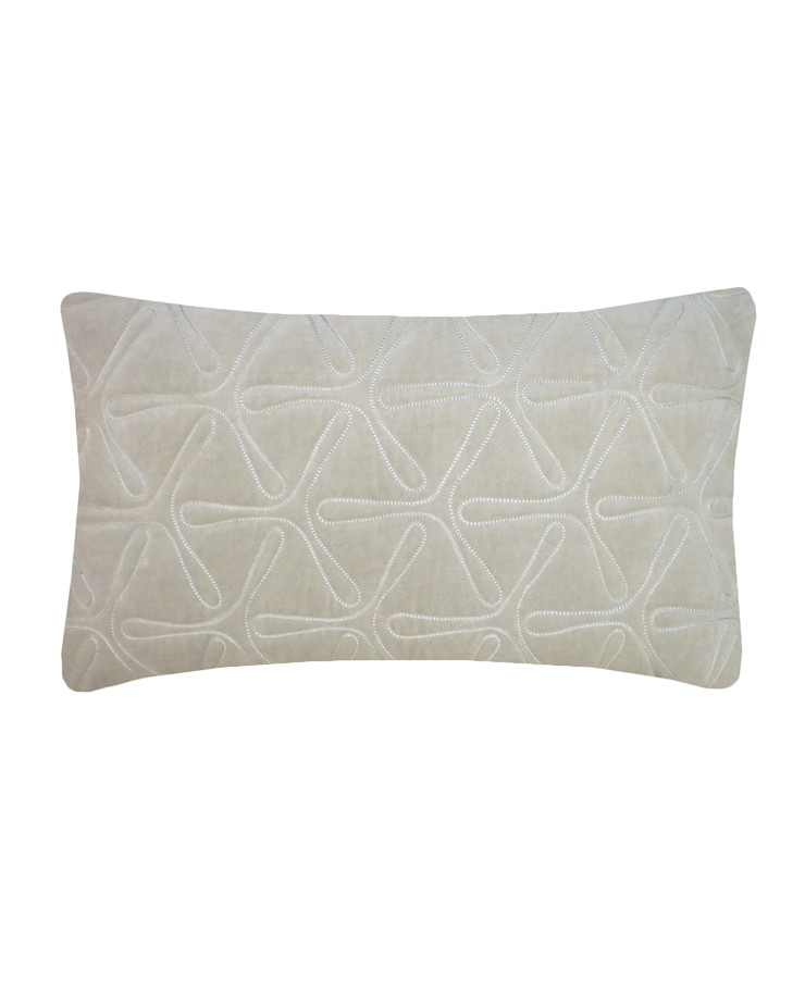 Quilted Geo Cotton Velvet Cushion in Dove Grey, 30x50cm Nitin Goyal London BedroomTextiles