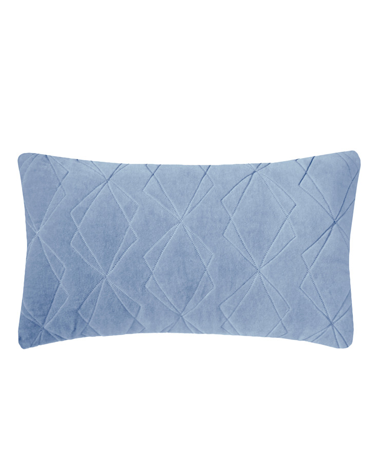 Quilted Duo Cotton Velvet Cushion in Blue, 30x50cm Nitin Goyal London BedroomTextiles
