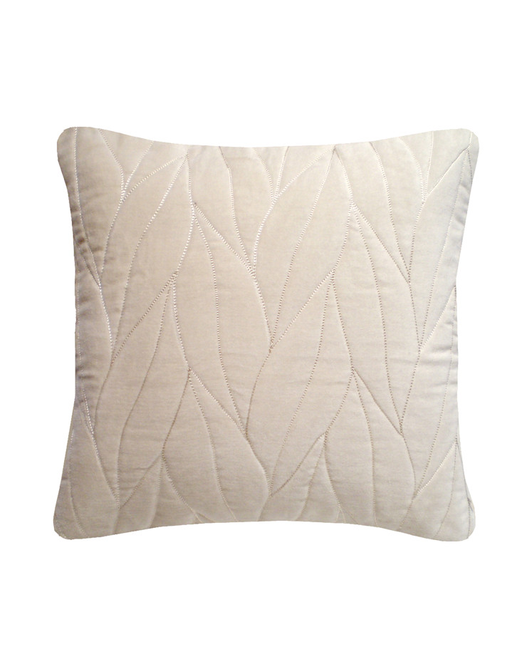 Quilted Leaf Cotton Velvet Cushion in Ivory, 40x40cm Nitin Goyal London BedroomTextiles
