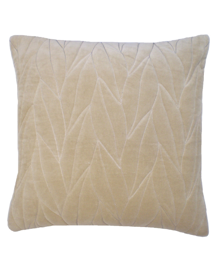 Quilted Leaf Cotton Velvet Cushion in Natural, 50x50cm Nitin Goyal London BedroomTextiles