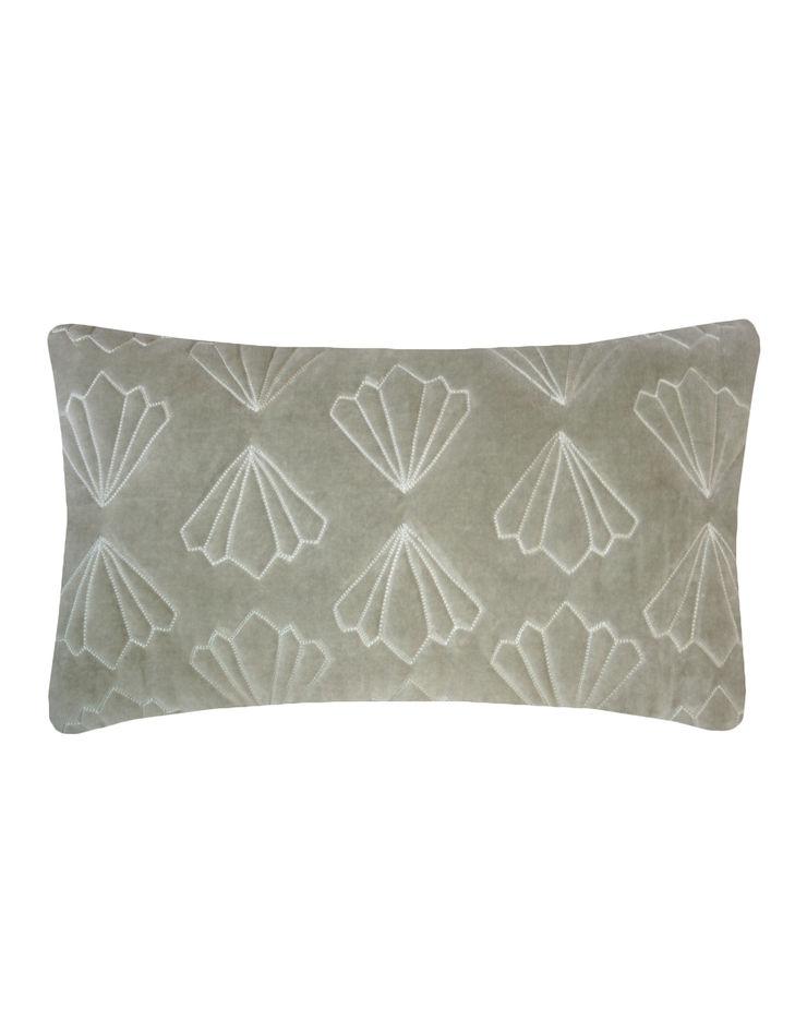 Quilted Petal Cotton Velvet Cushion in Grey, 30x50cm Nitin Goyal London BedroomTextiles