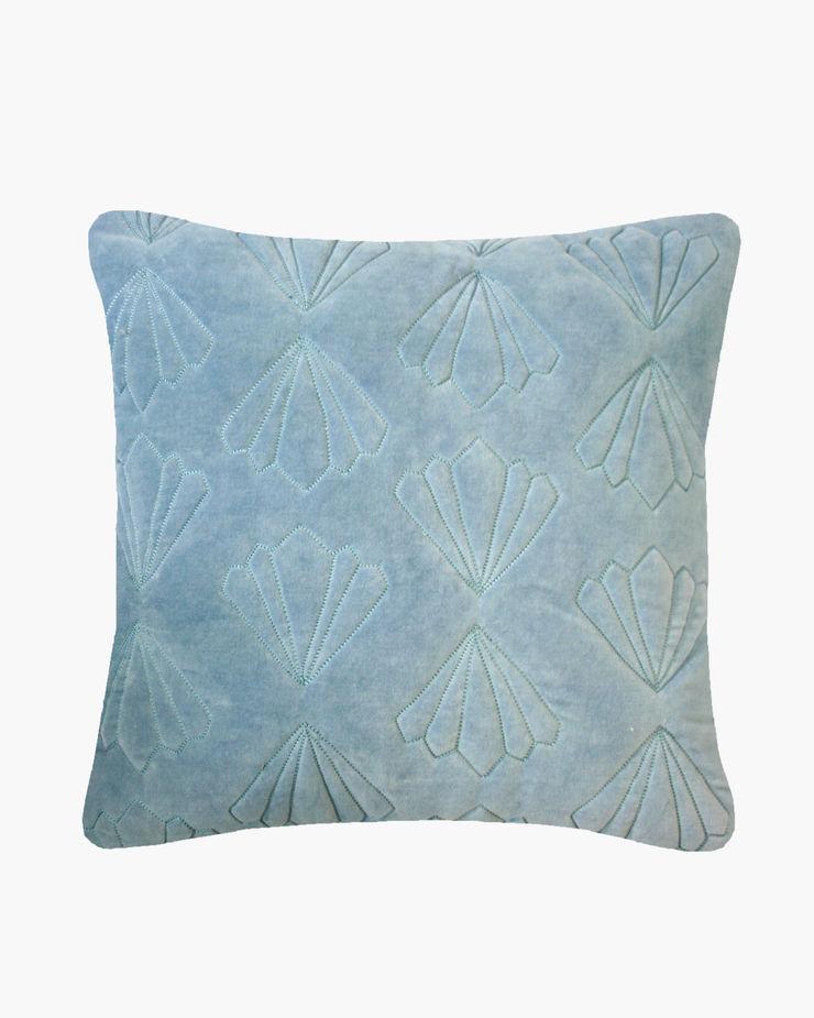 Quilted Petal Cotton Velvet Cushion in Blue, 40x40cm Nitin Goyal London BedroomTextiles