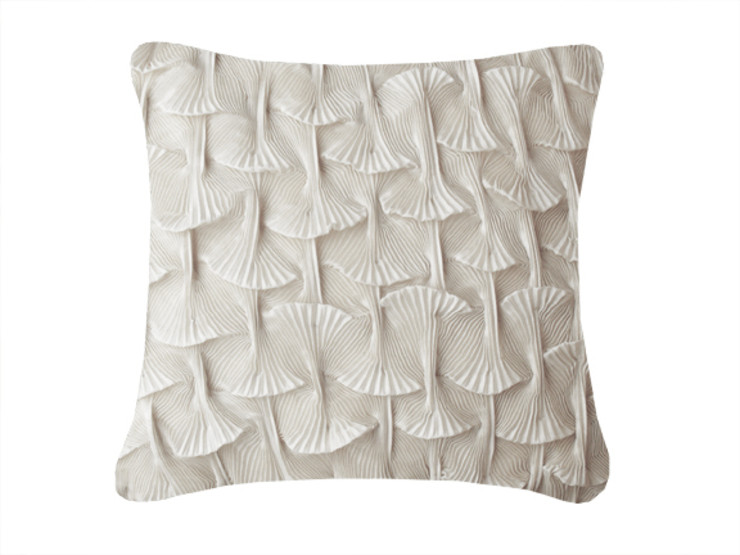 Hand Pleated Shell Cushion in White, 40x40cm Nitin Goyal London BedroomTextiles