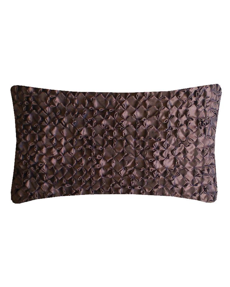 Hand Smocked Flower Cushion in Chocolate, 30x50cm Nitin Goyal London BedroomTextiles