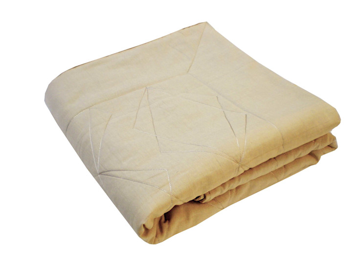 Quilted Duo Cotton Throw in Natural, 130x185cms Nitin Goyal London BedroomTextiles