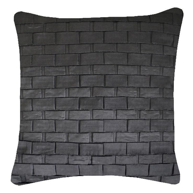 Hand Pleated Origami Cushion in Gunmetal, 50x50cm Nitin Goyal London BedroomTextiles