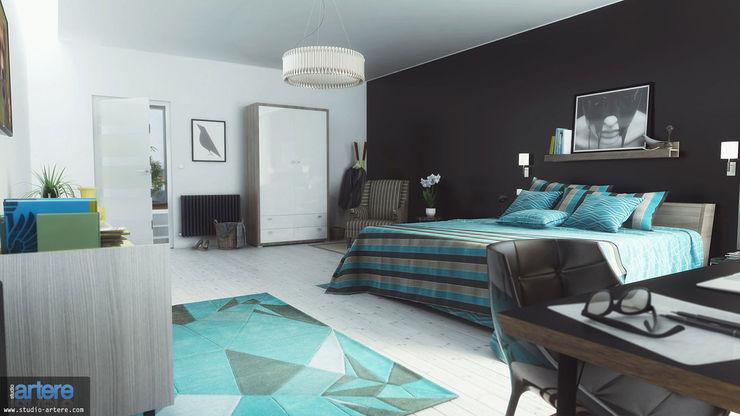 Modern Blue vue 2 homify Chambre moderne