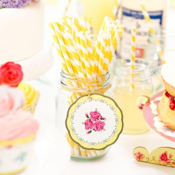Mason Jar met papieren rietjes Mason Jar Kitchen KeukenBestek, servies & glaswerk