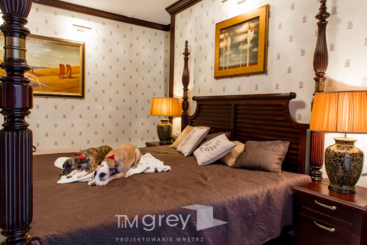 Classic Design – 230m2 TiM Grey Interior Design Klasyczna sypialnia