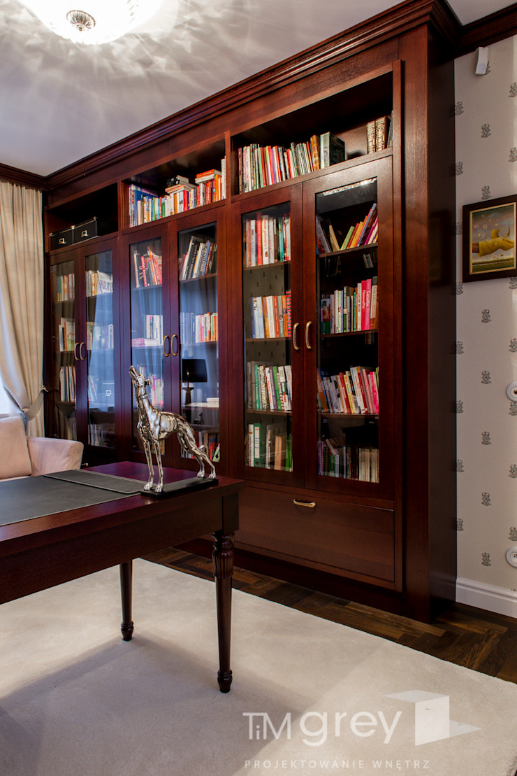 Classic Design – 230m2 TiM Grey Interior Design Klasyczne domowe biuro i gabinet