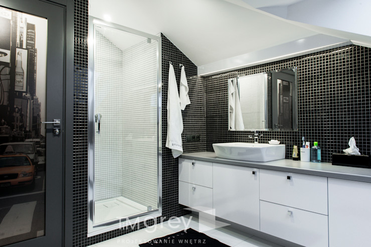 Classic Design – 230m2 TiM Grey Interior Design Nowoczesna łazienka