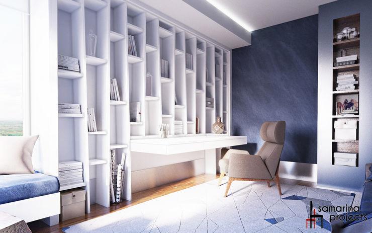 Квартира для семьи с ограниченными физическими возможностями Samarina projects Рабочий кабинет в стиле минимализм