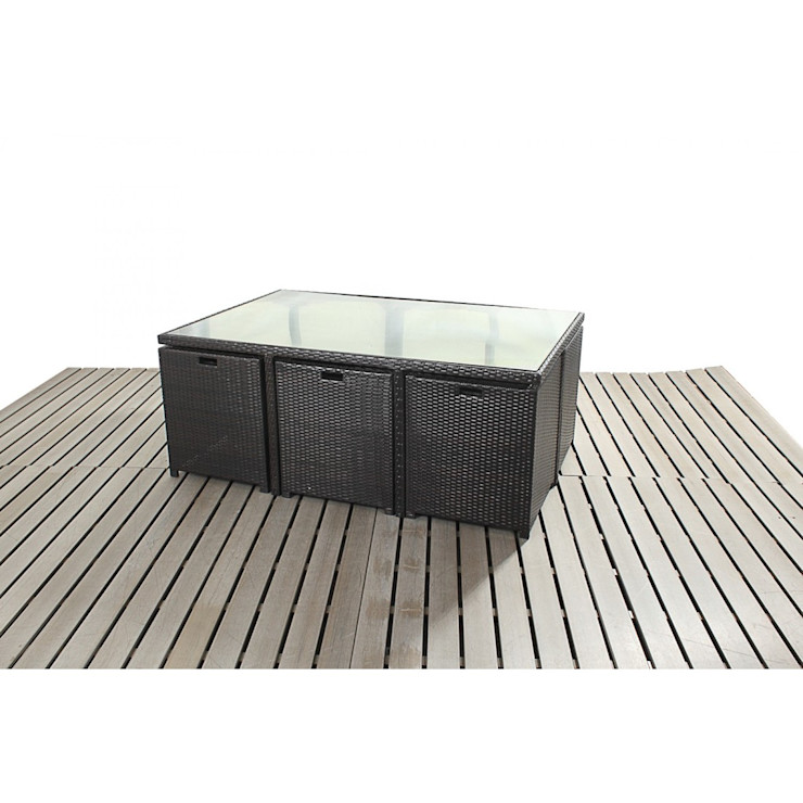 Bonsoni Cube 6 Piece Dining Set - Includes a Glass Top Table, Six armchairs With Extendable Back Rests and Four Footstools Rattan Garden Furniture homify Сад Мебель