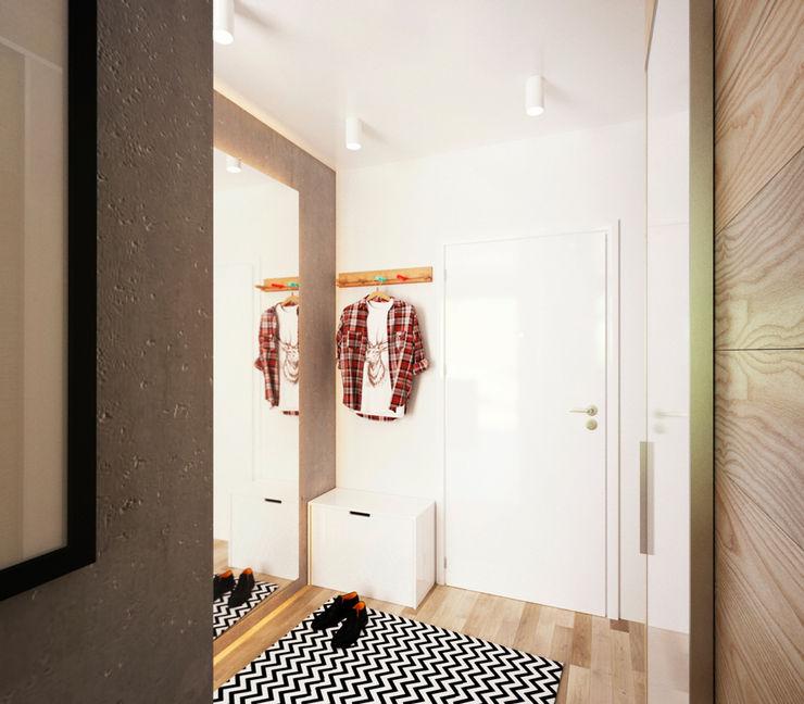 IK-architects Minimalist corridor, hallway & stairs
