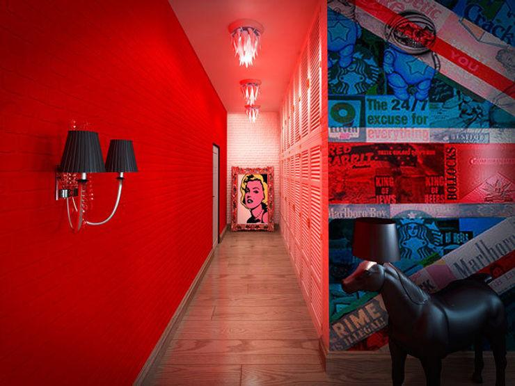 Красный коридор: вызов и яркий акцент Студия дизайна интерьера Маши Марченко Коридор, прихожая и лестница в модерн стиле