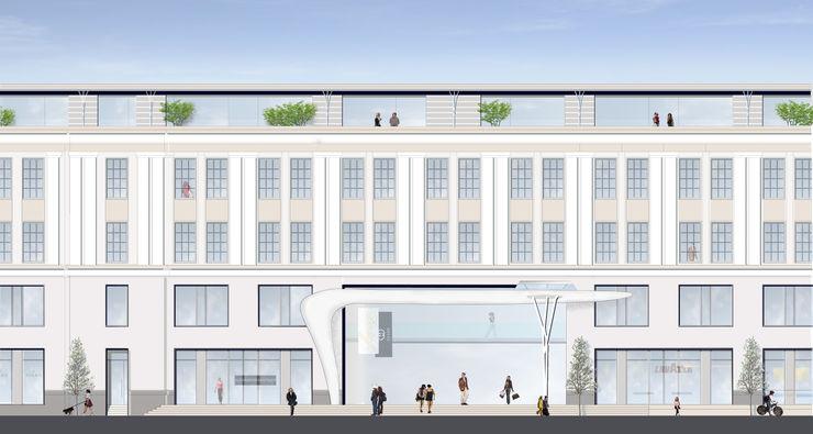 Hauptfassade Uferpromenade Ulitsa Gorkogo Achtergarde + Welzel Architektur + Interior Design