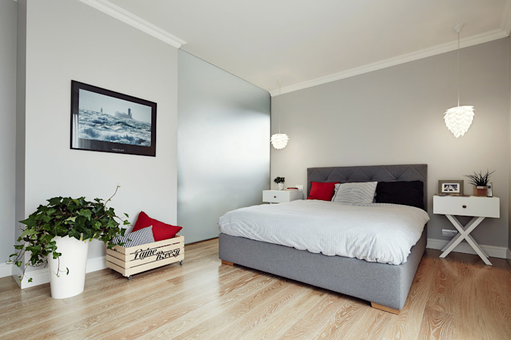 Apartament w Krakowie - sypialnia AvoCADo Skandynawska sypialnia