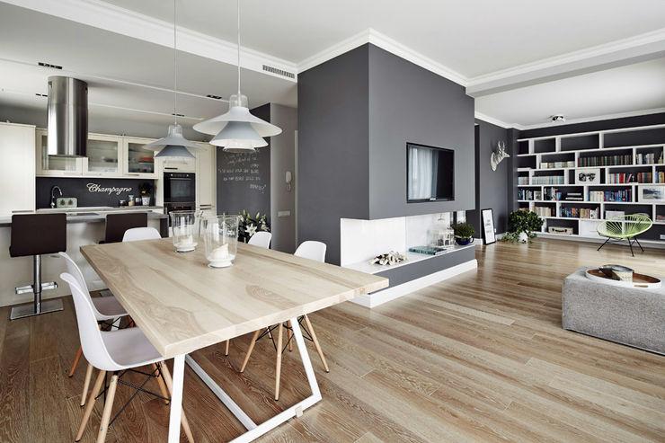 Apartament w Krakowie - salon z jadalnią AvoCADo Skandynawska jadalnia
