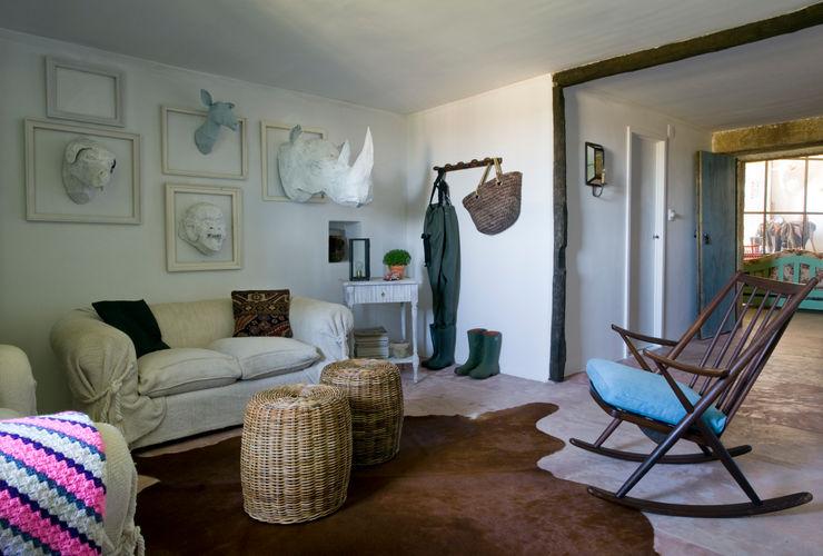 Casa de campo en Galicia Oito Interiores Salones de estilo moderno