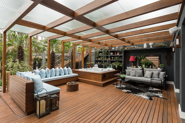 Casa Cor RS 2014 Plena Madeiras Nobres Varandas, alpendres e terraços modernos