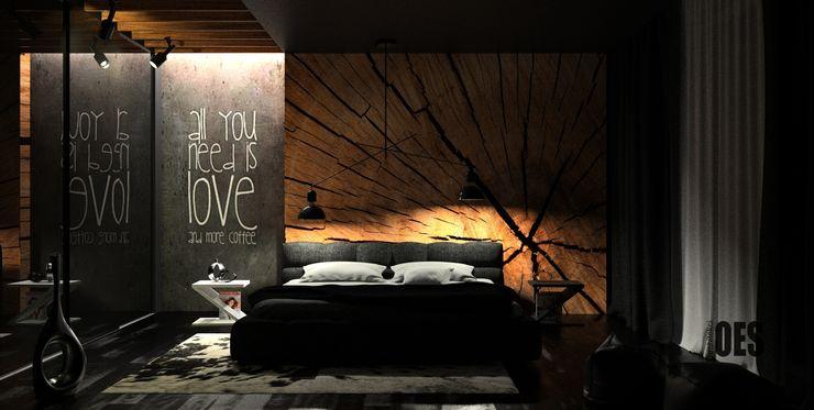OES architekci Modern style bedroom
