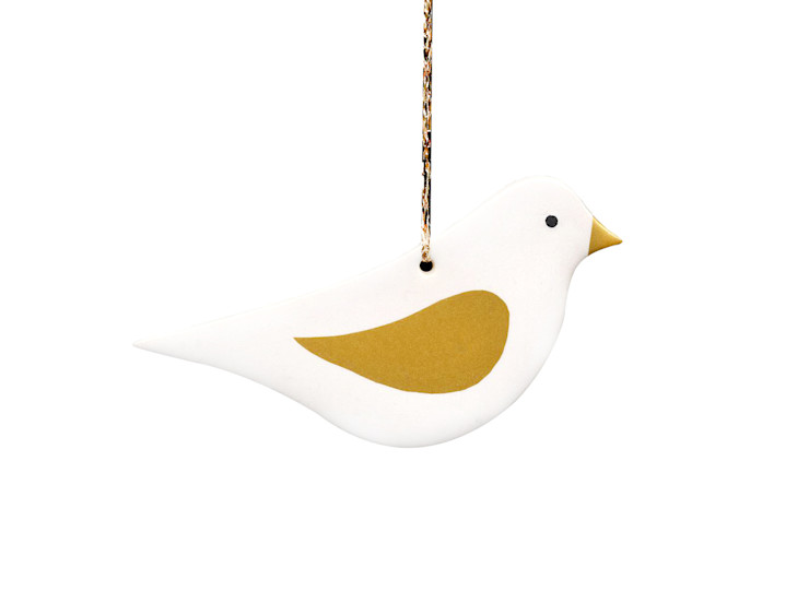 Gold and White Christmas Decoration - Dove Stockwell Ceramics HouseholdAccessories & decoration