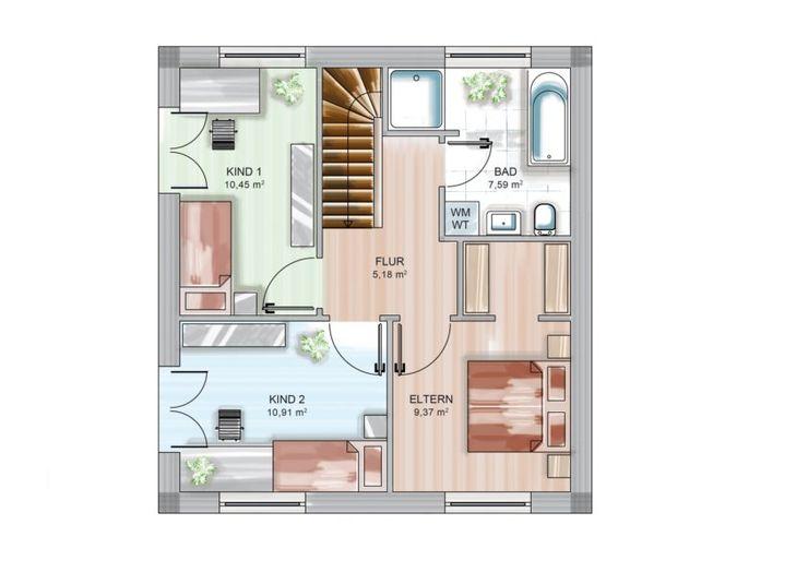 Dennert Massivhaus GmbH モダンスタイルの寝室