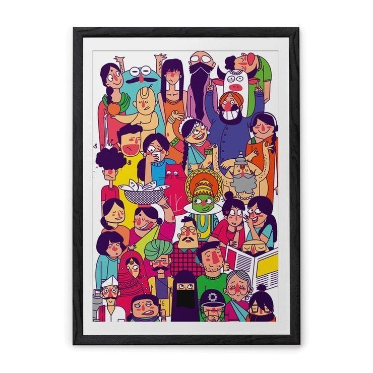 Faces Colourful Art Print ashajodathekal ArtworkPictures & paintings