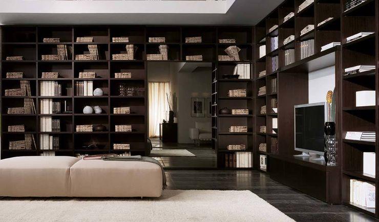 Libreria componibile finitura rovere moro con sviluppo ad angolo homify SoggiornoScaffali