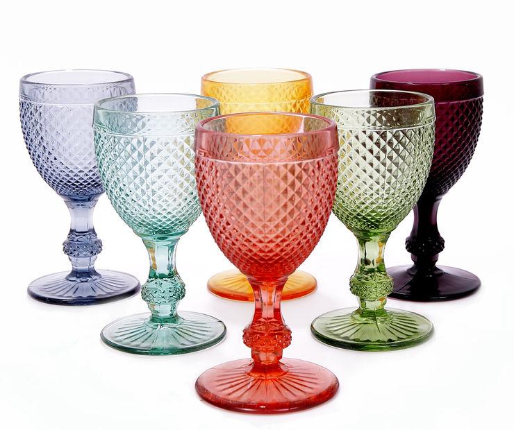 http://www.jasmineway.co.uk/6-handmade-portuguese-diamond-pattern-wine-glasses J & M Collections Ltd EetkamerServiesgoed & glaswerk